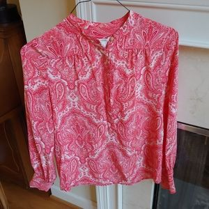 J Crew 100% Silk Pink Paisely Blouse
